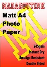 A4 Double Sided Matt Inkjet Photo Paper 245gsm 25 Sheets